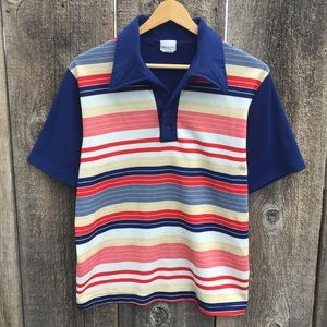 VTG 70s Striped Front Polyester Polo Shirt, M